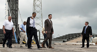 Musk and President Barack Obama at the Falcon 9 launch site in 2010.